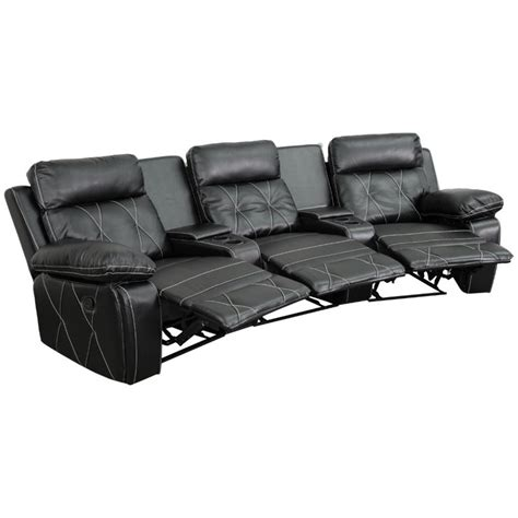 reclining home theater seating 3 seat leather reclining home theater seating in black