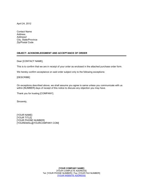 Purchase Order Acceptance Letter acknowledgment and acceptance of order template sle form biztree