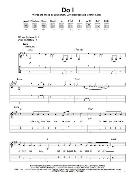 luke bryan guitar chords do i sheet music direct