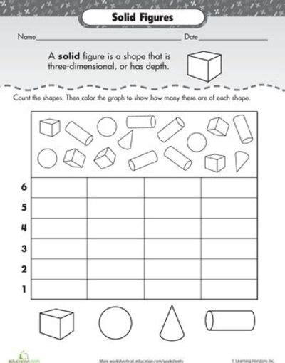 Solid Shapes Worksheets by Worksheets Shape Dimensions Solid Figures Preschool
