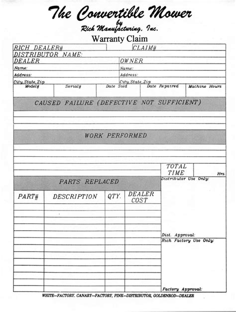 warranty claim form template convertible mowers warranty claim form