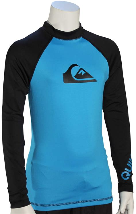 quiksilver boy s all time ls rash guard cyan black for