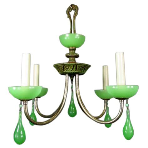 Green Chandelier Circa 1930 S Green Opaline Glass Chandelier At 1stdibs
