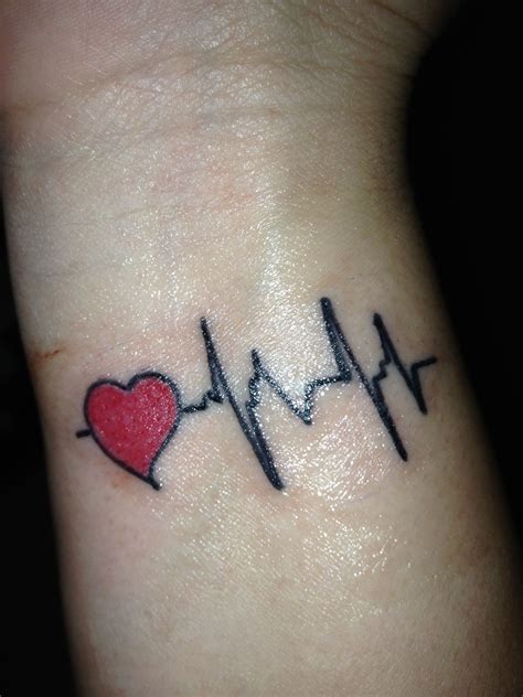 heart line tattoo my heartbeat heartbeat