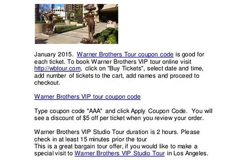 warner brothers tour coupon codes