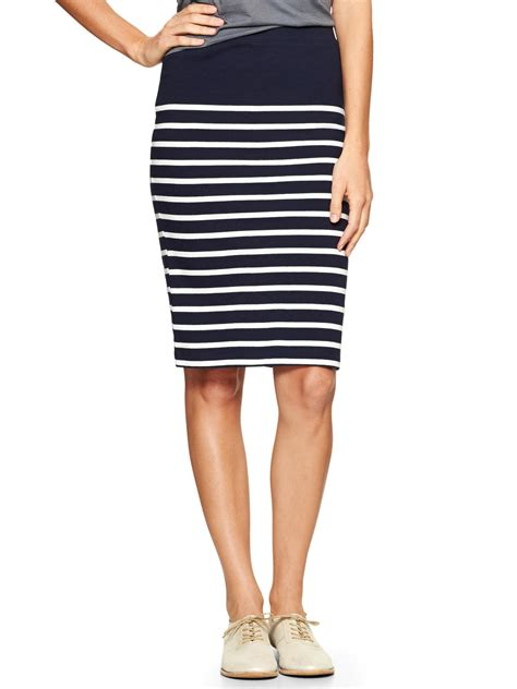 gap blue stripe knit pencil skirt lyst