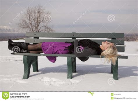 lay bench woman dress lay on bench snow stock photo image 30326610