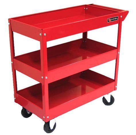 Garage Storage Cart Rolling Tool Cart 3 Shelf Mobile Steel Storage Utility