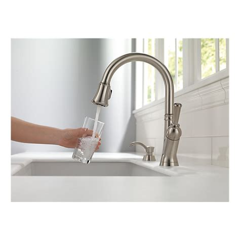 delta savile stainless 1 handle pull kitchen faucet 19949 sssd dst single handle pull kitchen faucet