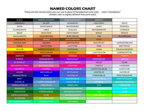 color names hexadecimal color chart with names pictures to pin on