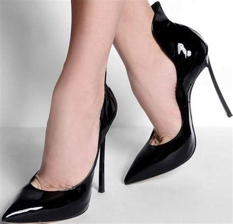 Dress Shoe Knife by Point Toe Slip On Pumps Patent Leather Blade High Heel Fashion Dress Shoes