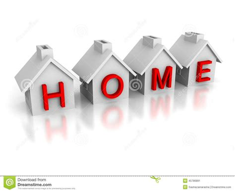 set of houses with text home word stock illustration