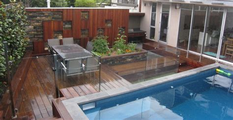 Very small swimming pool deck design ideas with glass