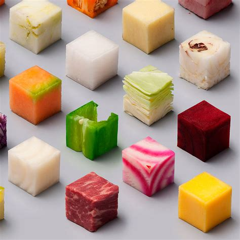 into the food design studio creates image of food cut into cubes