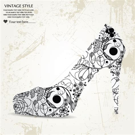 heart patterned heels pattern consisting of high heels and pink heart vector