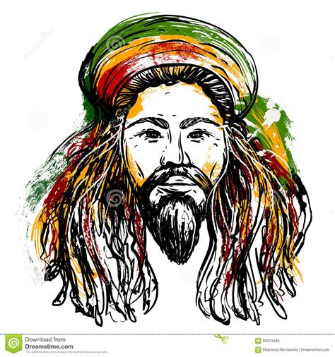 portrait of rastaman jamaica theme reggae concept design