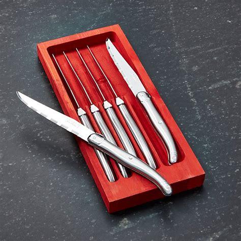laguiole â stainless steel steak knives set of 6 laguiole 174 stainless steel steak knives set of 6 crate