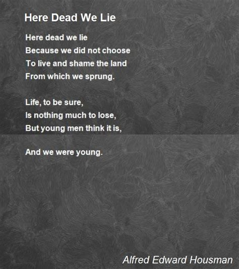 here we lie books here dead we lie poem by alfred edward housman poem