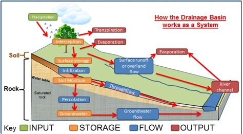 drainage basin system diagram profiles water on the land