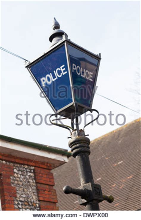 old style l post old fashioned english police l lantern outside a