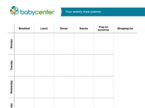 printable meal planner for baby printable meal planner babycenter india