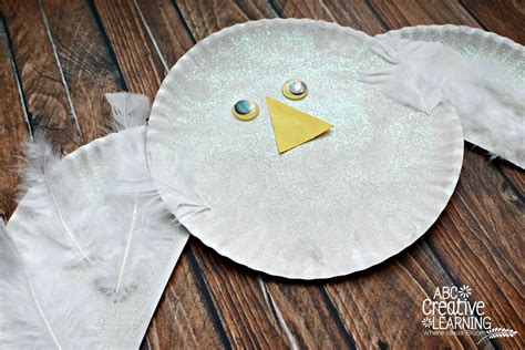 Paper Craft Owl - paper plate snowy owl craft