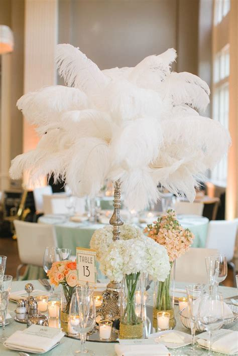 Gatsby Glam Feather Centerpieces   Rosetree Wedding