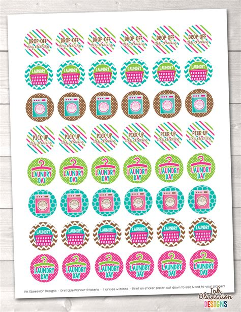 printable stickers pdf laundry planner stickers instant download printable chore