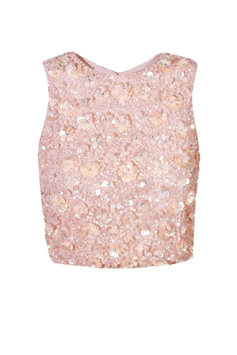 beaded and sequined tops lace hazel pink sequin top lace tops
