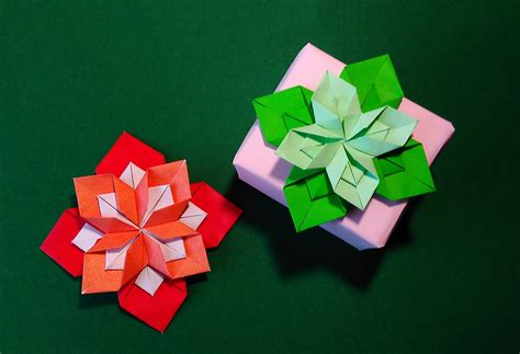 Origami Petal - origami 8 petals flower gift box decorating ideas