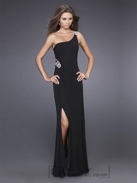 Floor Length Black Dress by Black One Shoulder Floor Length Prom Dresses 2202472