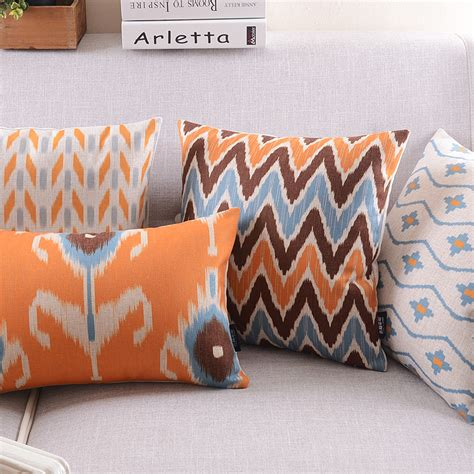 Cushion Cover Sarung Bantal Geometric Blue Brown linen pillow cover home decorative cushion cover ikat orange brown blue abstract geometric