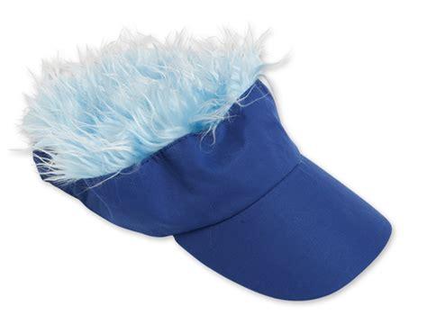 hats with lights in visor wacky blue visor with light blue hair