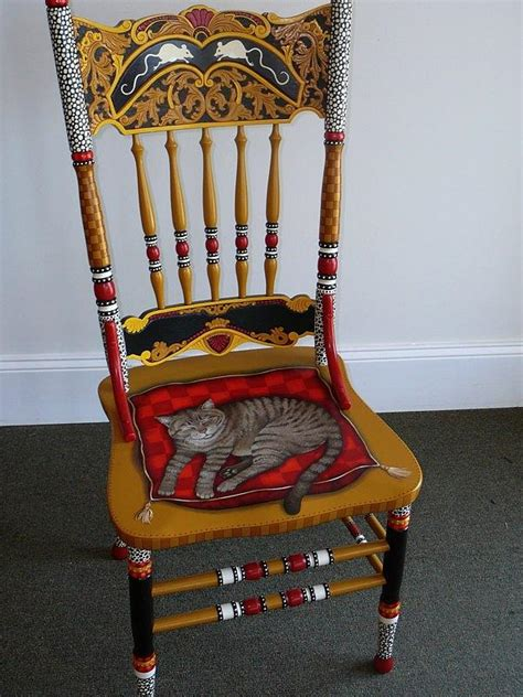 Cat Chair by Painted Cat Chair Mixed Media By Andrea Ellwood