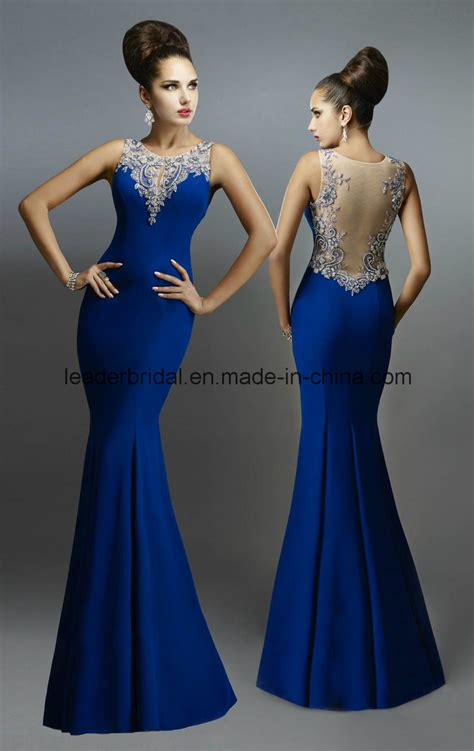 Ladie Dress china royal blue formal gowns mermaid sheer evening