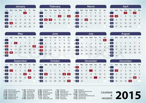 2015 Calendar With Us Holidays Calendar Holidays Usa 2015 Stock Vector Colourbox