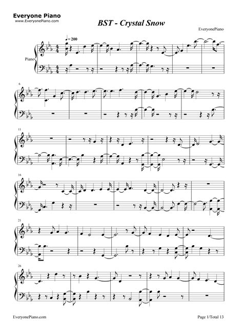 bts chords crystal snow bts stave preview 1 free piano sheet music