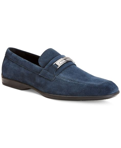 klein loafers calvin klein vick suede bit loafers in blue for lyst