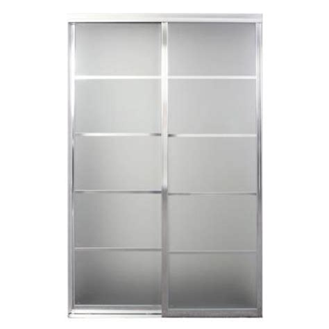 96 Sliding Closet Doors Contractors Wardrobe Silhouette 48 In X 96 In Bright Clear 5 Lite Mystique Glass Aluminum