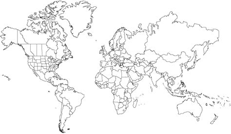 line drawing map map of the world line drawing