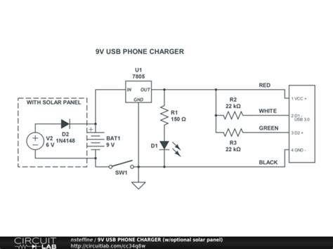 usb powered aa battery charger 9v usb phone charger w optional solar panel circuitlab