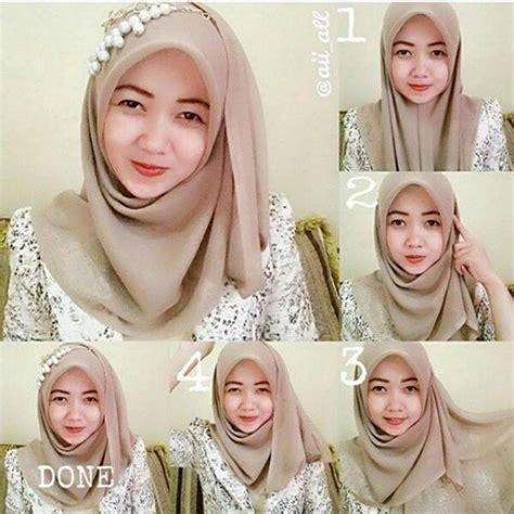 tutorial jilbab segi empat kekinian cara memakai jilbab segi empat pesta pernikahan terbaru