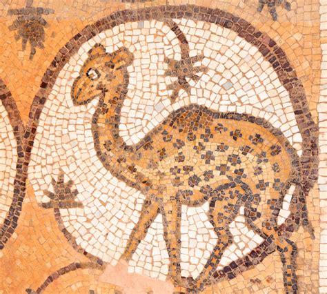 mosaic giraffe pattern giraffe at ancient mosaic in an christian church i royalty