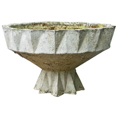Deco Planter geometric deco european concrete planter at 1stdibs