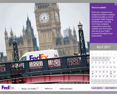 Fedex Calendar Fedex Screensaver Calendar