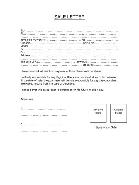 Letter For Vehicle Vehicle Sale Letter Motor Vehicle