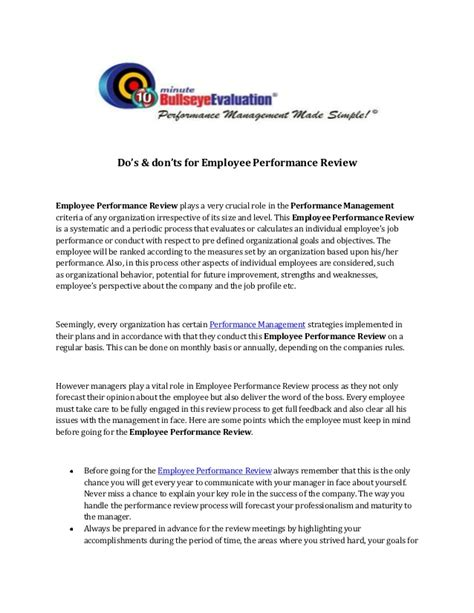 home appraisal do s and don ts do s don ts for employee performance review