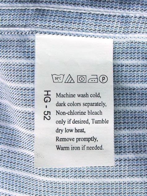 laundry plasa label laundry file laundry symbols on a care label attached to a shirt