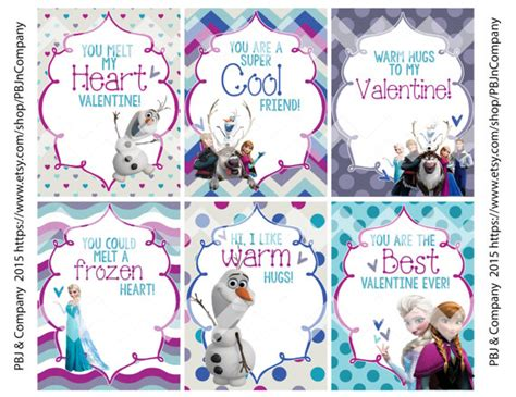 frozen printable etsy frozen printable valentine s day cards digital file