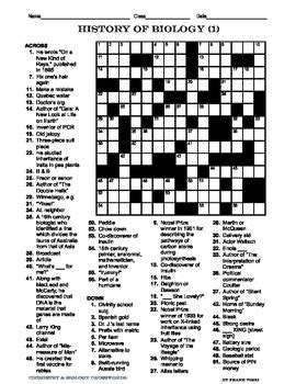 biology crosswords ii  frank virzi teachers pay teachers